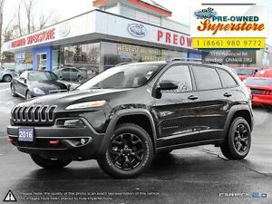 2016 Jeep Cherokee Trailhawk>>>Leather, Blacked Out Rims, NAV.