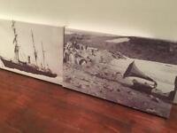 Pair of Canvas Pictures of Antarctic Exploration - vintage/ retro style