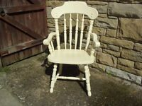 Shabby Chic Solid Pine Farmhouse Country Carver In Farrow & Ball Cream No 67