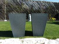 Large Grey or Brown Rattan Style Planters x 2
