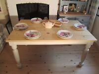 Shabby Chic Solid Pine Farmhouse Table Laura Ashley Pale Linen Eggshell.