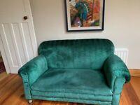 Edwardian drop end chesterfield settee green velvet