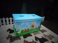 SOLID PINE DISNEY TOY/STORAGE/BLANKET BOX LARGE AND DEEP BOX BEAUTIFUL AND VERY COLOURFUL CHEST