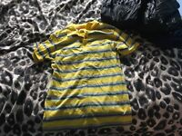 Yellow striped polo shirt large size never worn