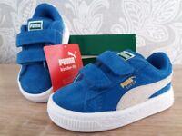 BRAND NEW suede Puma toddler boy shoes, UK size 4, EU size 20