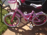 Girls princess 16 in bike as new basket white tyres