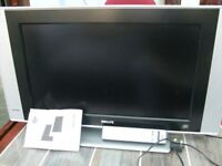 Philips LCD flat screen. 28 inch TV with stand, remote control and manual.