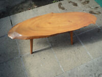 Vintage, Quirky Retro tree trunk slice, with bark edge coffee table, side table 115cm long.