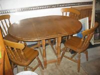 MODERN SOLID PINE GATELEG / DROP LEAF TABLE & 4 PINE FARMHOUSE CHAIRS. VIEWING/DELIVERY POSSIBLE