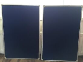2 blue notice boards, width 23.5 inches hight 35inches