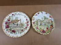 2 x Royal Albert Old Country Roses Cottage Plates - Pair -