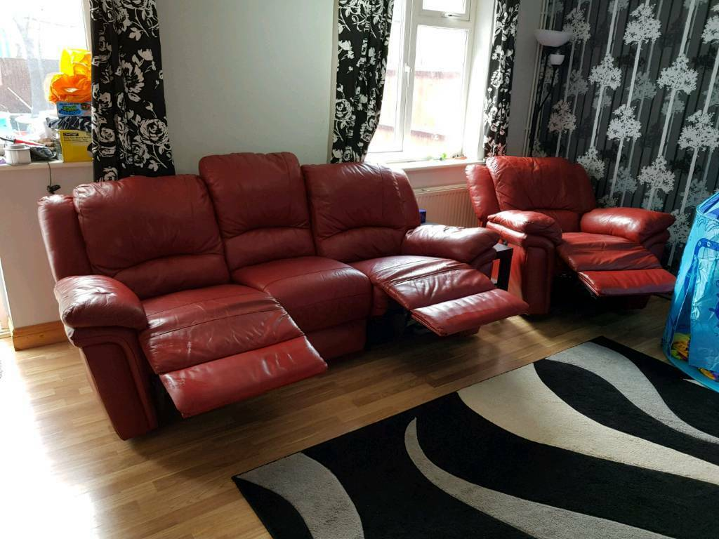 Red SCS leather reclining 3 seater sofa and armchair | in ...