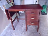 SOLID OLD COMPUTER DESK WITH 3 DRAWERS