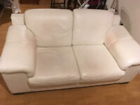 White Leather Sofa - free on collection