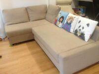 IKEA Corner sofa-bed with storage, beige, £149