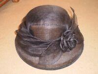 Vintage 1980's M & S Black Formal Event Hat / Wedding - Mother of the Bride