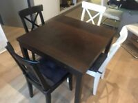 Extendable Dining Table & 4 Chairs - Ikea Bjursta