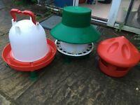 Chicken Feeder, Grit Bowl and Water Dispenser