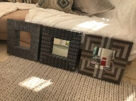 Decorative mirrors in a set of 3 , covered in metallic fabric 40 cm square each