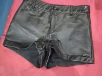 Leather PU pair of black shorts - size Small