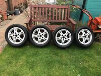 """4x 16"""" Alloy wheels with tyres from Porsche 911 2.5 turbo"""