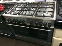 Stainless steel Kenwood 90cm five burners dual fuel cooker grill & fan oven good condition with gua
