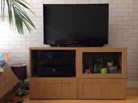 TV bench with drawers, 'besta' ikea, oak