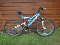 Pro motive DS400 full suspension bike, 26 inch wheels, 18 gears, 19 inch frame, blue and white