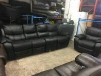 Black leather 4 seater recliner and matching electric reclining chair