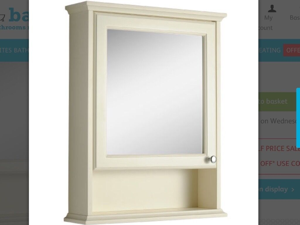 Bathroom Furniture Set Savoy Old English White Mirror Cabinet & Tall Unit  Like New From