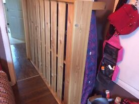 Nice wooden double bed frame with mattress and brown headboard included