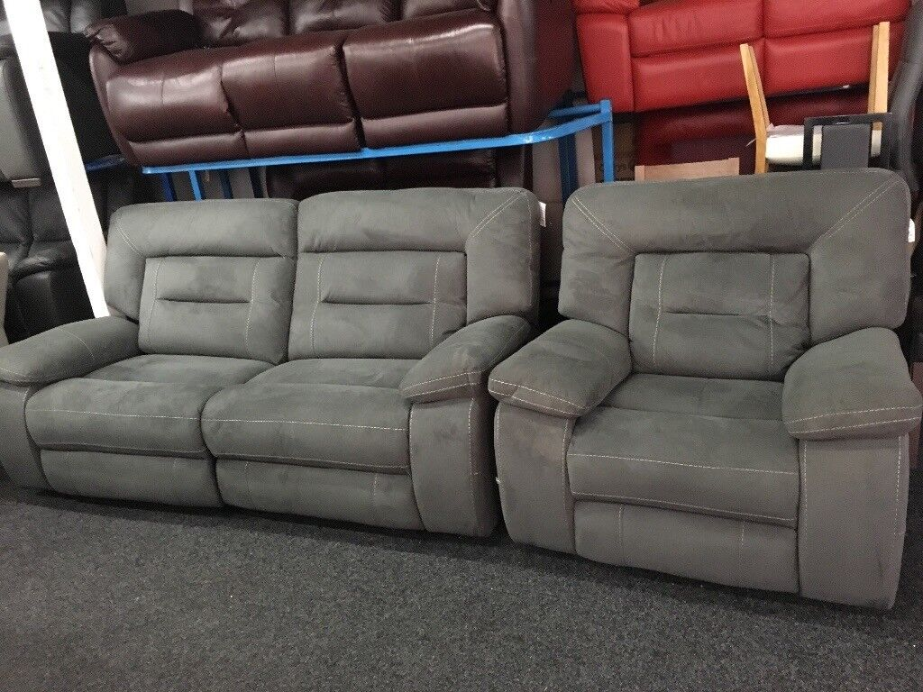 New Ex Display Grey Lazyboy Kinman 3 Seater Recliner Sofa 1 Chair