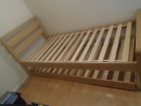 Wooden bed frame single-to-double