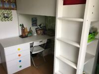 NOW SOLD IKEA kids single bed with desk, 4 drawer unit, 2 drawer wardrobe and 4 storage shelves