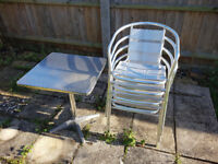 cafe style metal table and 4 chairs ideal for garden cafe or food trailer
