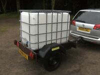 600 LITRE WATER TANK TRANSPORTER/STORAGE TRAILER FULLY BRAKED WITH ROAD LIGHTS ETC.