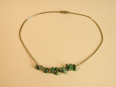 Liquid Silver Ankle Bracelet (Old Pawn 925 Liquid Silver Turquoise Nugget Ankle Bead Bracelet Anklet 9 3/4