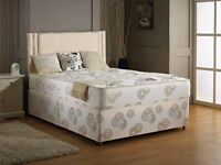 LUXURIOUS FIRM ORTHOPAEDIC DOUBLE COMPLETE BED- DIVAN BED WITH FIRM MATTRESS