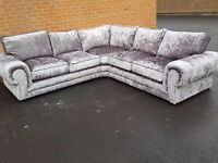 Fantastic Brand New large silver crushed velvet corner sofa.mark to the back.can deliver