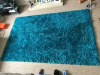 Duck egg shaggy rug