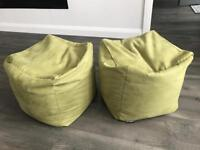 Green suede bean bag x2