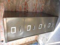Super Super Trendy Original 60's,70's Khaki/Bronze 4 Drawer Filing Cabinet /Drawers . Industrial