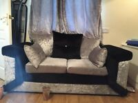 Crushed Velevet Sofa 2 and 3 Footstoll collection