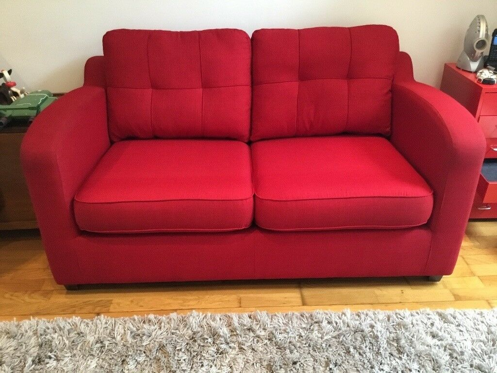 Dfs 2 seater red sofa bed 157cm wide 74cm high and 93cm for Wide couches