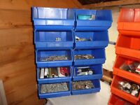 10 store bins with contents