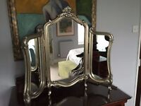 Dressing table triple stand mirror, ornate baroque style, silver frame