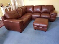 Soft Leather Sofa Corner Unit (3+2) and footstool with storage.