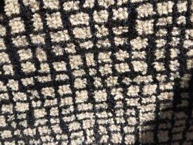 LARGE VINTAGE 1970 BLACK/WHITE WOOL CARPET. EXCELLENT CONDITION