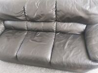 Black Italian leather 3 seater couch free