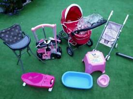 Dolls pram, buggy. high chair, bath ironing board, potty and cleaning set